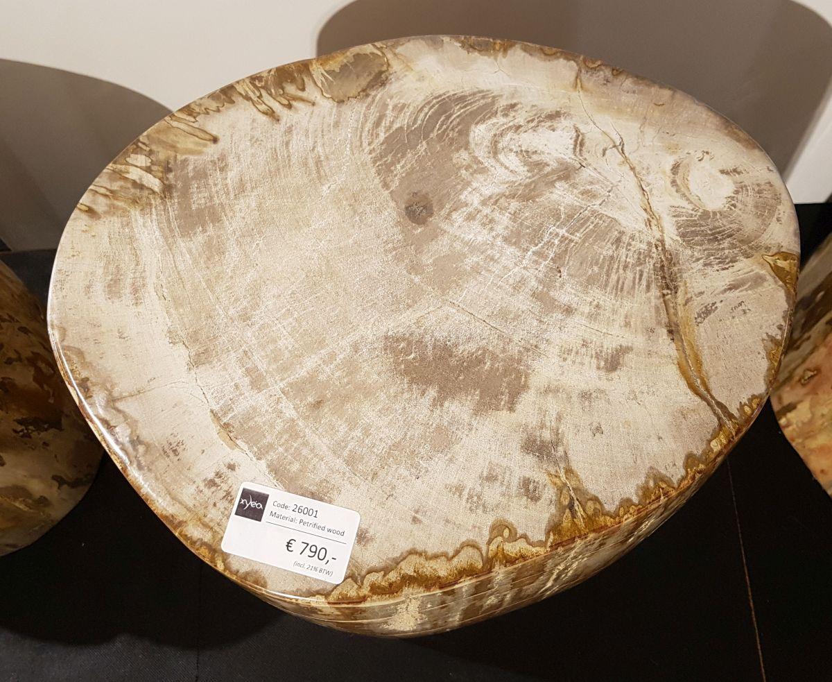 Bijzettafel versteend hout 26001