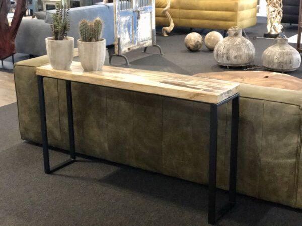 Table console bois pétrifié lumière colorée