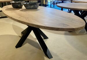 Live edge table acacia oval