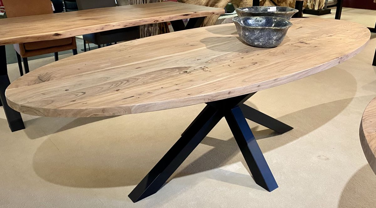 Live edge table acacia oval