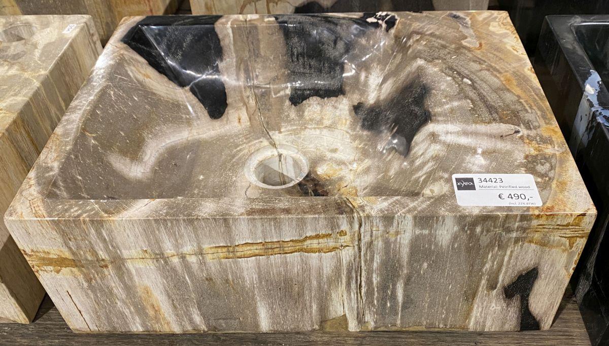 Waschbecke versteinertes Holz 34423