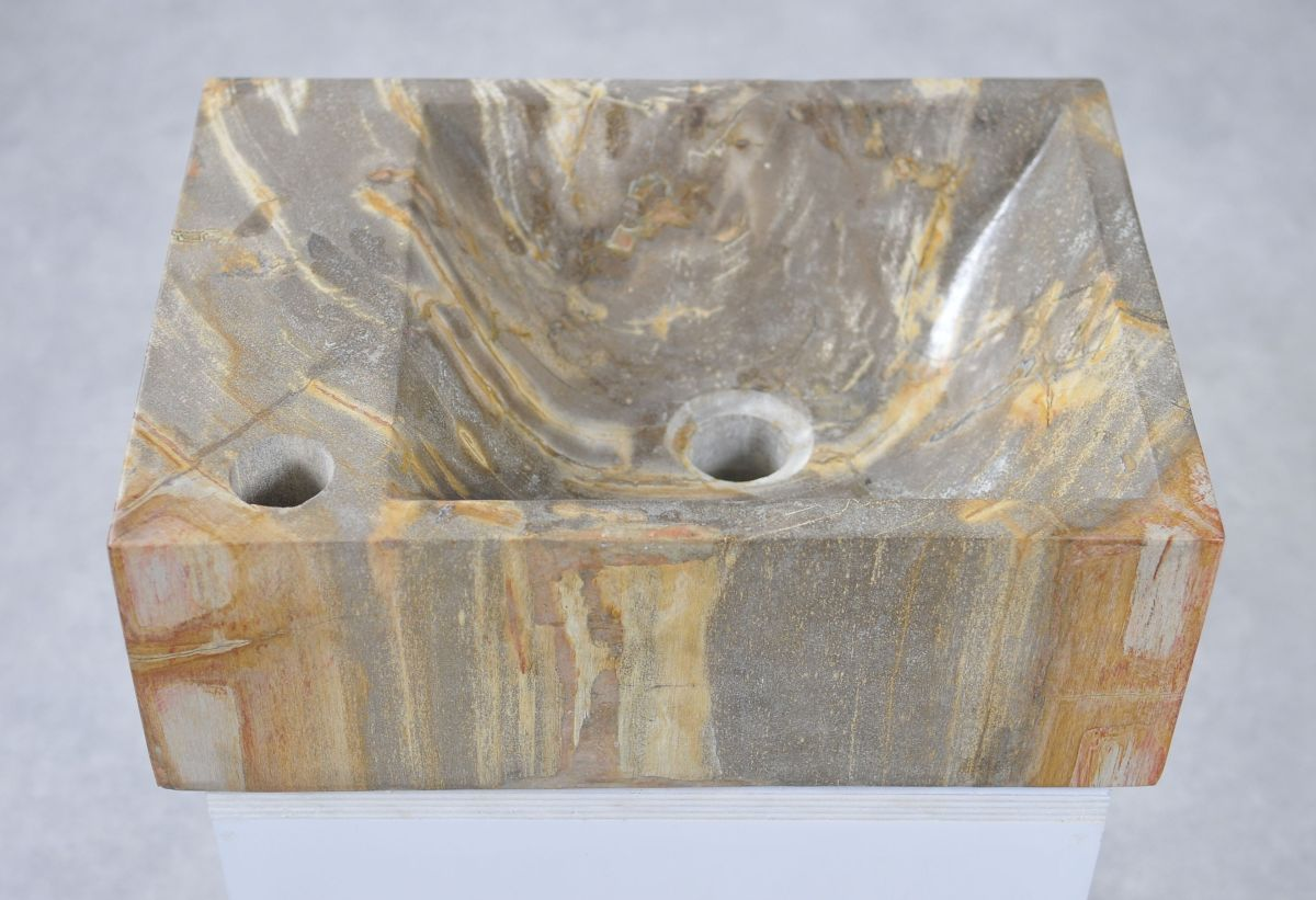 Wastafel versteend hout 34429